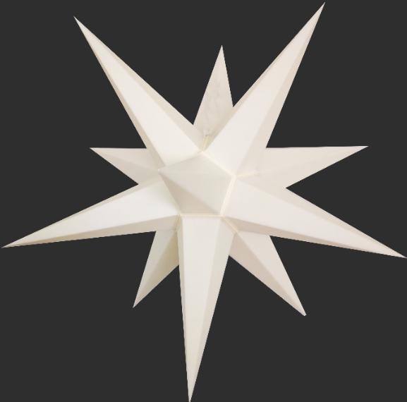 3D Stern Spritzguss weiß aus - 56 cm - inkl. 7 m Außenkabel und LED Birne