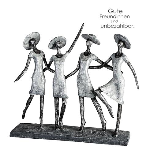4 Ladys - Skulptur Frauengruppe mit Hüten - mit Spruchanhänger