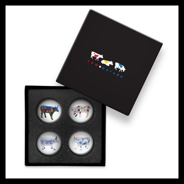 Cowparade Kuh Magnete in Geschenkbox - Blue Set