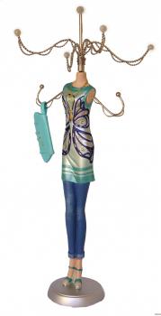 Schmuckpuppe Butterfly - Schmuckständer Frau mit Handtasche - Schmuckhalter mit 7 Fangarmen