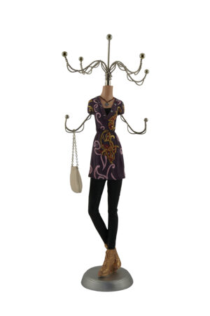 Schmuckpuppe Purple Dress - Schmuckständer - Kettenständer Frau mit Handtasche