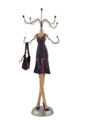 Schmuckpuppe Purple Rose - Schmuckständer - Kettenständer - Schmuckhalter Frau im Kleid mit Handtasche