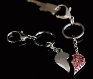 Partner Schlüsselanhänger geteiltes Herz - Schlüsselanhänger Broken Hearts mit Strass