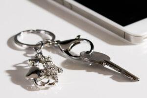 Crystal Schlüsselanhänger Katzenpaar Strass Metall Schlüsselring mit Strass
