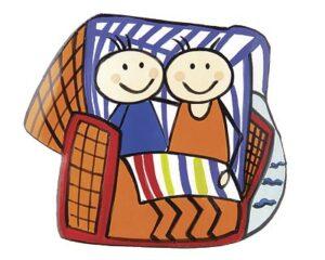 Mila Magnet Strandkorb mit Liebespaar - Urlaubstimmung Badeurlaub Küchenmagnet