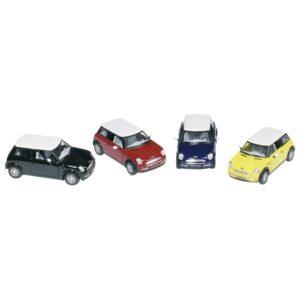Modellauto Mini Cooper, Spritzguß, Maßstab 1:28, L= 12,7cm, Rückzugmotor