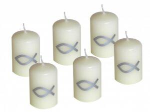 Votivkerze Itchy 80x50mm Silber Fisch Kerze Kommunion Konfirmation Taufe Tischdeko Kerzendeko