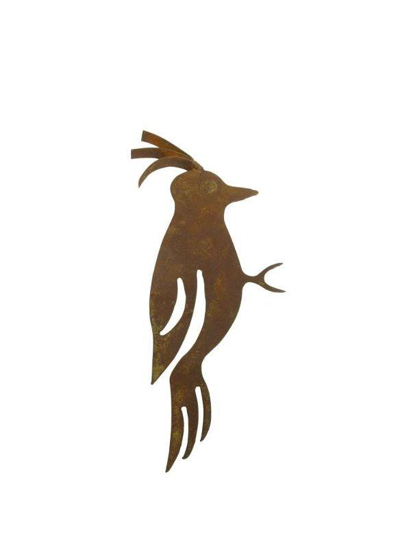 Baumdekoration Specht mit Spieß - Edelrost Baumfigur Vogel