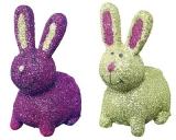 Mila 2 Glitzer Hasen - grün+ lila - 2er Set Dekofiguren Hase aus Resin