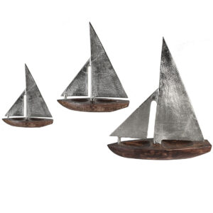 Skulptur Segelboot Classic, Rumpf aus Mangoholz, Segel aus Aluminium, 27-39cm 43196