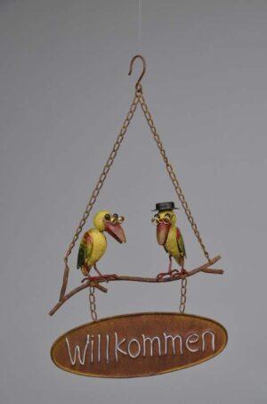 """Gartenhänger """"Willkommen"""" mit Rabe und Vogel mit Hut - Willkommensschild zum aufhängen"""