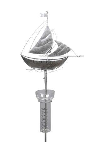 Regenmesser Schiff - Segelschiff Boot Niederschlagsmesser aus Metall, altsilber