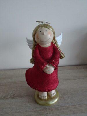 Mila Deko Figur XXL Engel Lisa, rot mit Glitter, 35 cm