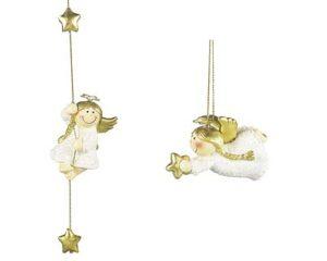Mila Engel Lisa - Deko Hängefigur Schutzengel Glitzer, kletternd mit Stern oder fliegend mit Herz - Schutzengelfigur