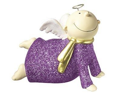 Mila Engel Himmelsbote glitter lila - Deko Schutzengel liegend aus Resin
