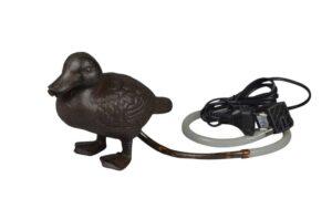 Wasserspeier Ente Gusseisen - inkl. Pumpe + Schlauch - Wasserspiel Brunnen Tierfigur