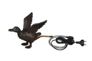 Wasserspeier Ente fliegend - Gusseisen - inkl. Pumpe + Schlauch - Wasserspiel Brunnen Tierfigur