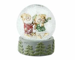 Mila Schneekugel Gartenzwerg - Fröhliche Weihnacht Traumkugel Wichtel Herr Fröhlich und Frl. Lustig