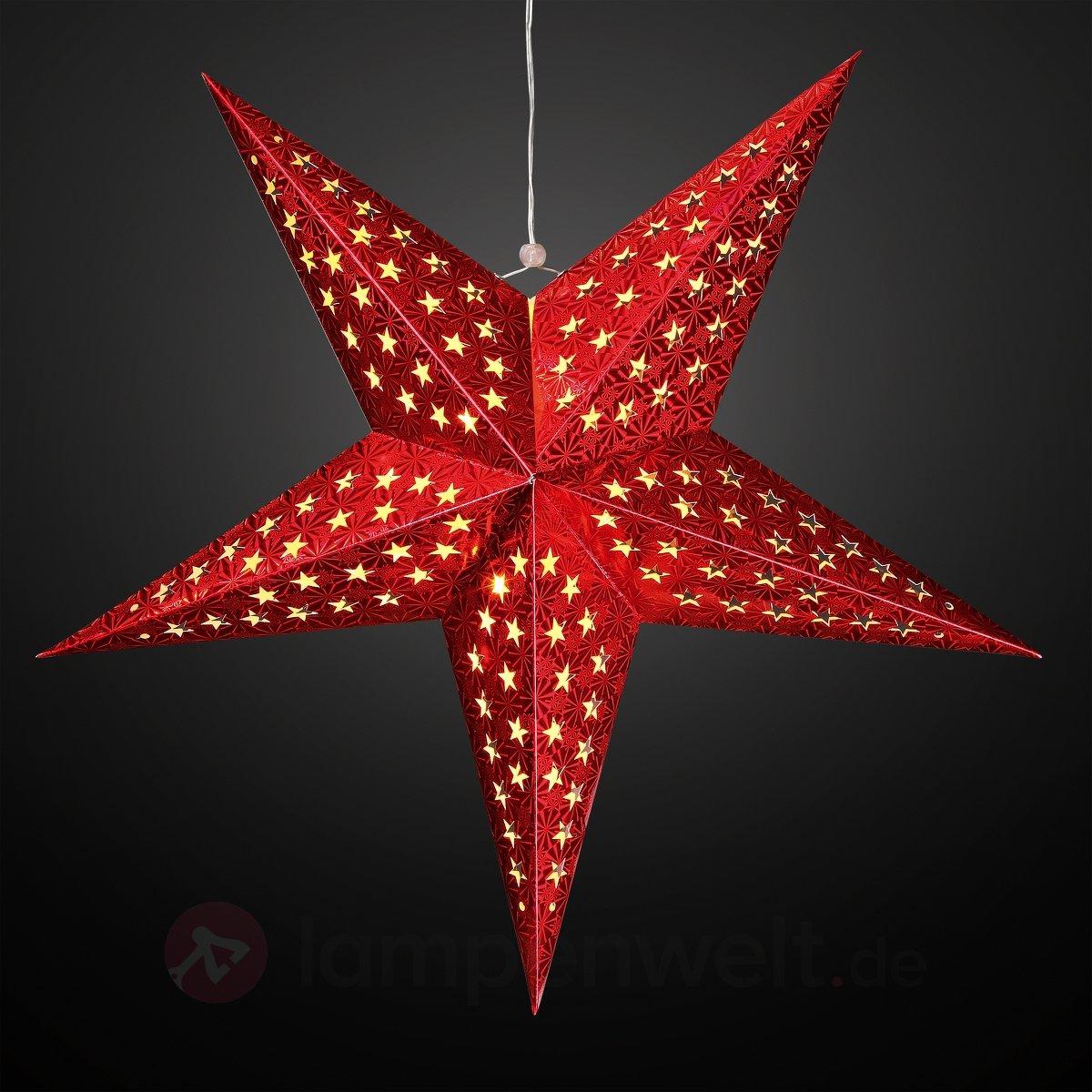 Fenstersterne Mit Beleuchtung | Stern Leuchtstern Gold Rot Papierstern 40 Cm Holografiefolie