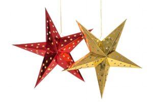 Papierstern, Leuchtstern, Stern 40 cm mit Holografiefolie auch inkl. Beleuchtung 10er LED Lichterkette