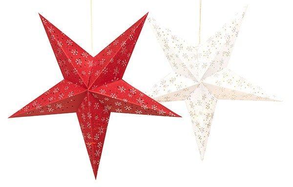 Papierstern, Leuchtstern, Stern rot / weiß, 60 cm, Leuchtmittel wählbar