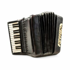 Nostalgie Spardose Akkordeon - Deko Musikinstrument Harmonika im Antik Look aus Polyresin