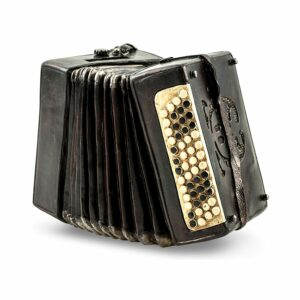 Nostalgie Spardose Harmonika - Deko Musikinstrument Akkordeon im Antik Look aus Polyresin