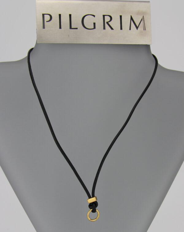 444851 Pilgrim Leder Kette gold