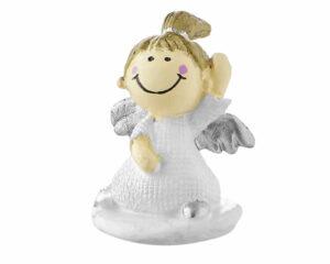 Mila Schutzengel xxs Figur - Engelchen Mia auf Sockel - Schutzengel Mädchen mit Zopf