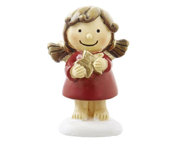 Mila Schutzengel xxs Figur Engel Sophia - rote Resin Engelsfigur - Schutzengel Mädchen mit Zöpfen und Stern