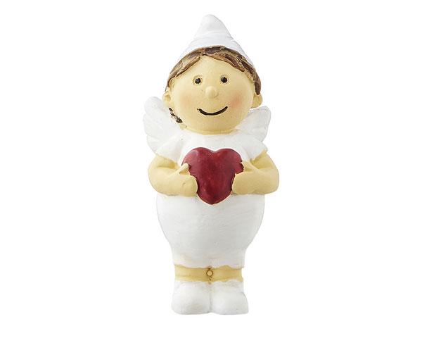 Mila Engel Rapahel xxs Figur - Weiße Resin Engelsfigur als Liebesbote - Schutzengel Junge mit einem rotem Herz