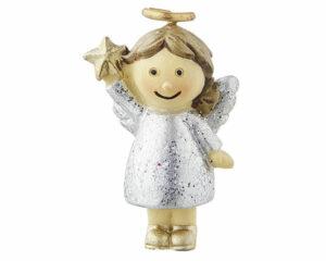 Mila Engel Nelli xxs, silber Resin Figur Glitzer Schutzengel Mädchen mit Stern
