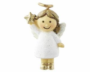 Mila Engel Nelli xxs Figur - Glitzer Resin Figur Schutzengel Mädchen mit Stern