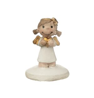 Mila Schutzengel xxs Figur - Weiße Resin Engelsfigur auf Sockel - Schutzengel Mädchen mit einem goldenen Herz