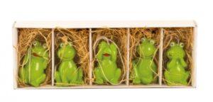 5 Frösche zum hängen - Geschenkbox mit Froschkönig, Frosch Nichts hören, nichts sehen, nichts sagen und schmunzel Frosch