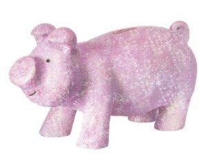 Mila Sparschwein Figur - Glitter Schwein Glücksschwein Dekofigur rosa/pink/lila