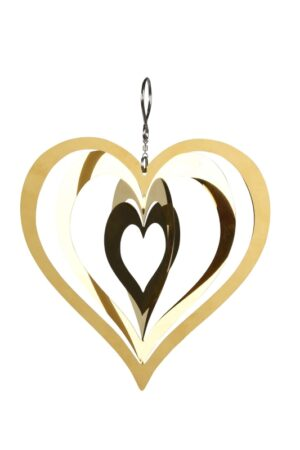 Windspiel Edelstahl Herz Mobile, gold, Fensterschmuck 3-D Herz zum Hängen