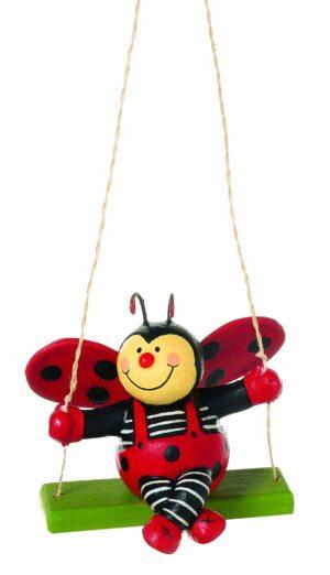 Mila Marienkäfer Fips auf der Schaukel - Glücksbringer zum Hängen - Figur Käfer Viel Glück