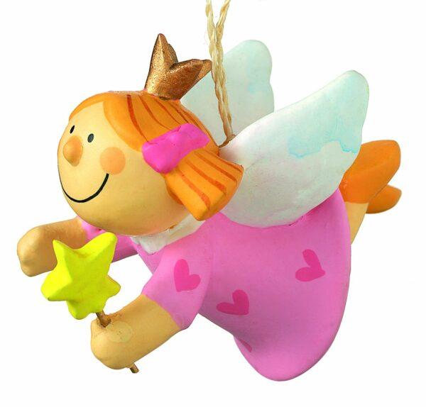 Mila Nelly Prinzessin Engel mit Sternenstab - Anhänger Kinderschutzengel zum aufhängen