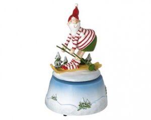Mila Spieluhr - Musikspieluhr Weihnachtsmann Skifahrer / Santa Claus auf Ski