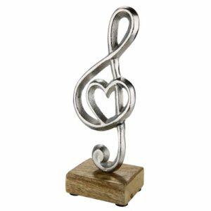 Silber Notenschlüssel auf Holz - Dekofigur Herz und Notenschlüssel 45691