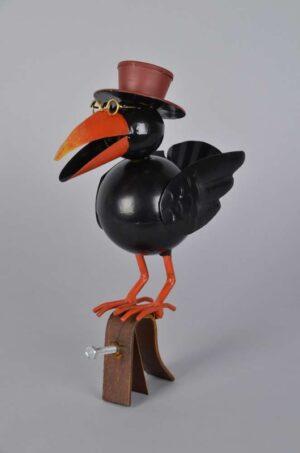 Regenrinnenvogel Lothar - Dr. Rabe mit Hut und Brille - Dachschmuck aus Eisen - schwarz