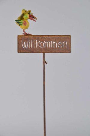 Willkommensschild Gartenstecker - Beetstecker Willkommen mit Vogel 460390-000-275_s