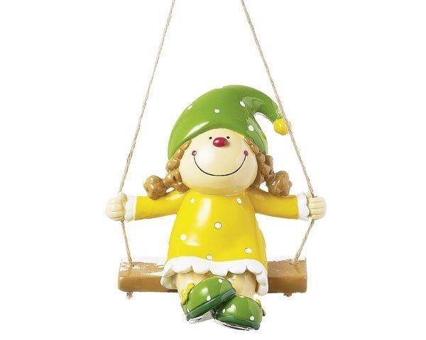 Mila Figur Fräulein Lustig, auf Schaukel - Wetterfeste Resinfigur 46114