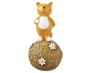 Mila Oommh Yoga Katze Spardose - Kater auf Graskugel - Dekofigur aus Resin