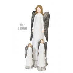 XXL Engel weiß, Skulptur Deko Schutzengel Magnesia mit Metallflügeln