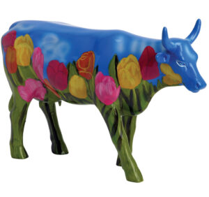 CowParade small Netherlands Mini Kuh mit Tulpen aus Niederlande