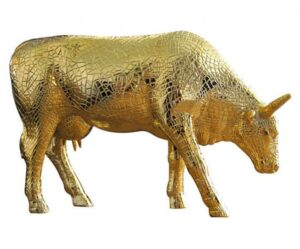CowParade Mira Moo Gold - Goldene Mosaik Kuh - Retired