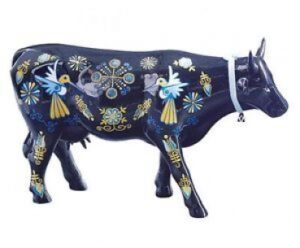 Large CowParade The Elegant Cow from Chivay Town - große, blaue Peru Kunst Kuh