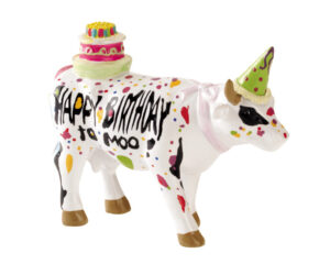 CowParade Happy Birthday to Moo - small - Mini Geburtstags Kuh mit Torte